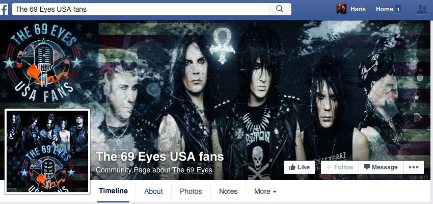 69 Eyes USA Fan Page Design