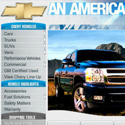 Chevrolet Home Page Design